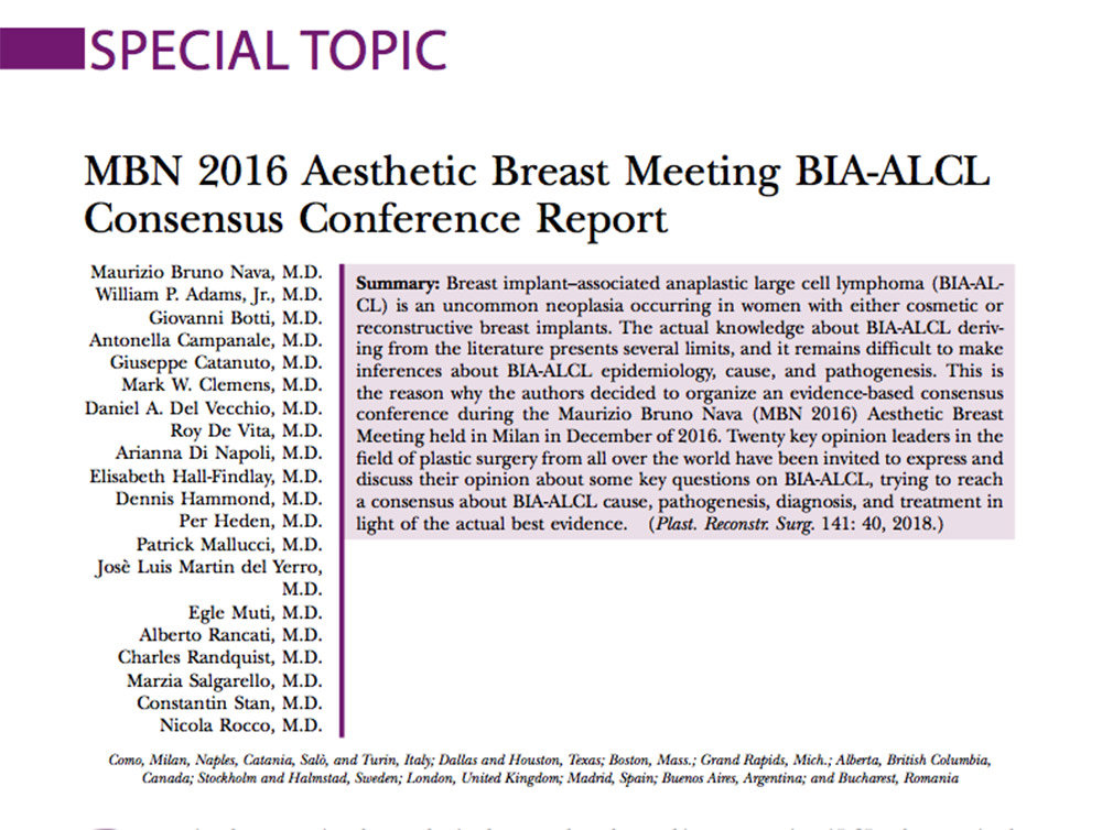 MBN2016 Aesthetic Breast Meeting BIA-ALCL Consensus Conference Report GRETA ONCOPLASTIC MILANO NAPOLI CATANIA