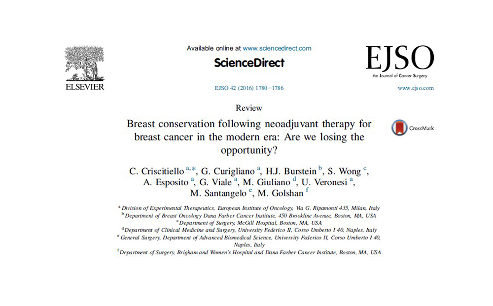 Carmen Criscitiello Breast conservation following neoadjuvant therapy for breast cancer in the modern era Are we losing the opportunity GRETA ONCOPLASTIC MILANO NAPOLI CATANIA