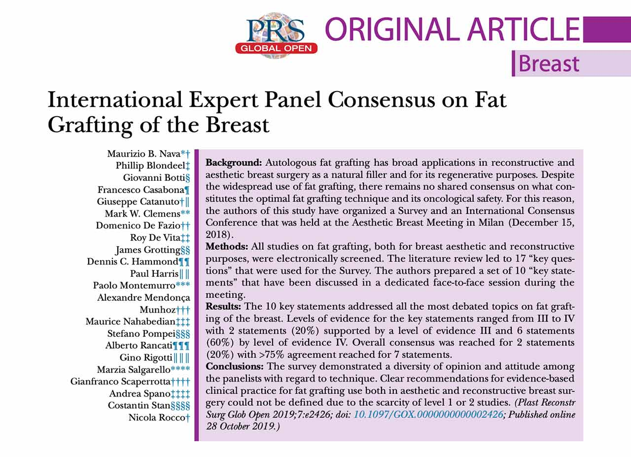 INTERNATIONAL EXPERT PANEL CONSENSUS ON FAT GRAFTING OF THE BREAST GRETA ONCOPLASTIC MILANO NAPOLI CATANIA